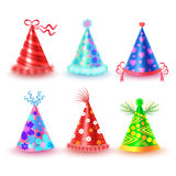 Decorated Colorful Party Hats Vector Icons Set Royalty Free Stock Photos