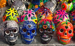 Decorated colorful skulls, day of dead, Mexico Royalty Free Stock Photo