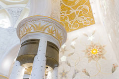 Decorated Columns with Sandal Spreader of Sheikh Zayed Mosque, The Great Marble Grand Mosque at Abu Dhabi, UAE Stock Photos