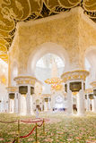 Decorated Columns with Sandal Spreader of Sheikh Zayed Mosque, The Great Marble Grand Mosque at Abu Dhabi, UAE Stock Image