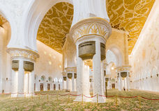 Decorated Columns with Sandal Spreader of Sheikh Zayed Mosque, The Great Marble Grand Mosque at Abu Dhabi, UAE Royalty Free Stock Photos