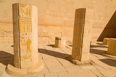 Decorated columns in the Temple of Queen Hatshepsut Stock Image