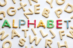 Decorated cookies ALPHABET on white Stock Images