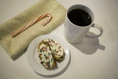 Cookies and Coffee on White Surface Royalty Free Stock Images