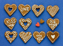 Decorated cookies on Valentine`s Day Royalty Free Stock Images