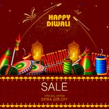Decorated cracker for Happy Diwali holiday shopping sale offer background. Easy to edit vector illustration of cracker for Happy Diwali holiday shopping sale vector illustration