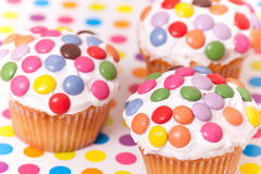 Decorated cup cakes Stock Photos