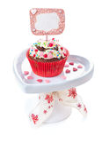 Decorated cupcake on white background Stock Photos