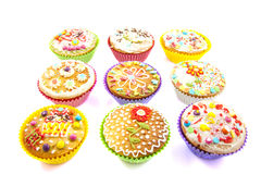 Decorated cupcakes Stock Photography