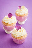 Decorated cupcakes. Cupcakes with buttercream and pansy sugar flowers royalty free stock photos