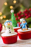 Decorated cupcakes for christmas holiday Stock Photos