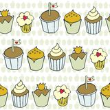 Decorated cupcakes in rows Stock Image