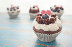 Decorated Cupcakes on Rustic Blue Table Top Royalty Free Stock Photo