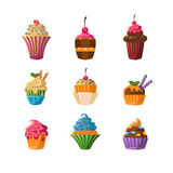 Decorated Cupcakes Sticker Set vector illustration