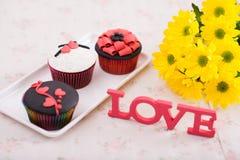 Decorated cupcakes Stock Photos
