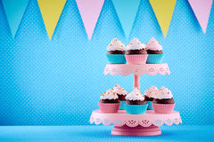 Decorated cupcakes on tray Royalty Free Stock Photos