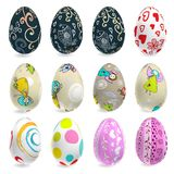 Decorated vector easter eggs set. Decorated 3D vector easter eggs set. N 1 Royalty Free Stock Images