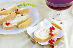 Decorated desert with berries and red sweet wine Stock Image