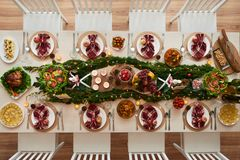 Decorated dinner table stock photography