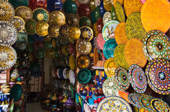 Decorated dishes in Morocco. Multicolored decorated plates in a souk of Marrakesh, Morocco Stock Photos