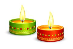 Decorated Diya Stock Photography