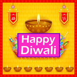 Decorated diya with cracker for Happy Diwali holiday background. Easy to edit vector illustration of decorated diya with cracker for Happy Diwali holiday Royalty Free Stock Photo