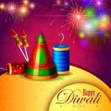 Decorated diya with cracker for Happy Diwali holiday background. Easy to edit vector illustration of decorated diya with cracker for Happy Diwali holiday Stock Images