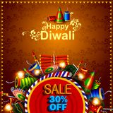 Decorated diya with cracker for Happy Diwali holiday  shopping sale offer background Royalty Free Stock Photography