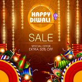 Decorated diya with cracker for Happy Diwali holiday  shopping sale offer background Royalty Free Stock Images