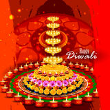 Decorated diya for Happy Diwali background royalty free illustration