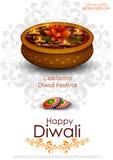 Decorated diya for Happy Diwali background stock illustration
