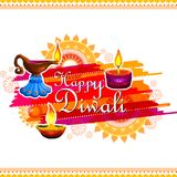 Decorated Diya for Happy Diwali festival holiday celebration of India greeting background Royalty Free Stock Photography