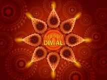 Decorated Diya for Happy Diwali festival holiday celebration of India greeting background stock illustration