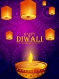 Decorated Diya for Happy Diwali festival holiday celebration of India greeting background vector illustration