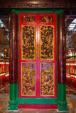 Decorated door at the Man Mo Temple in Hong Kong Stock Images