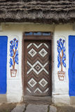 Decorated door of the old traditional Ukrainian house Stock Photo