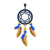 Decorated Dreamcatcher Charm, Native American Indian Culture Symbol, Ethnic Object From North America Isolated Icon Royalty Free Stock Photo