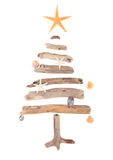 Decorated driftwood Christmas tree. Driftwood Christmas tree decorated with sea shells and starfish isolated on white background Royalty Free Stock Photography