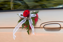 Decorated drivers door. Drivers door decorated with bouqet in shape of heart Stock Photography
