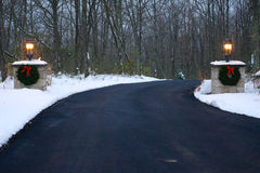 Decorated Driveway in Winter Stock Photo
