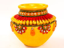 Decorated earthenware pot on white Stock Photo