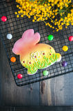 Decorated Easter Bunny Cookie Stock Photos