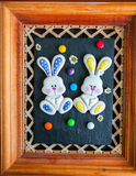 Decorated Easter Bunny Cookies Colored Candies Chamomiles over b Royalty Free Stock Photography