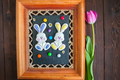 Decorated Easter Bunny Cookies Colored Candies Tulip Chamomiles Royalty Free Stock Photo