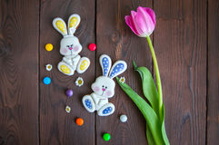 Decorated Easter Bunny Cookies Colored Candies Tulip Chamomiles Stock Image