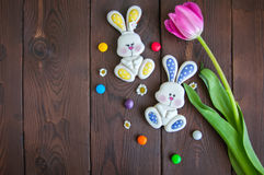 Decorated Easter Bunny Cookies Colored Candies Tulip Chamomiles Stock Photography
