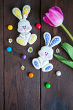 Decorated Easter Bunny Cookies Colored Candies Tulip Chamomiles Royalty Free Stock Photos