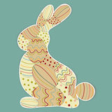Decorated Easter bunny silhouette Stock Photography
