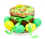 Decorated easter cake and eggs isolated Stock Images
