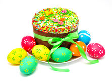 Decorated easter cake and eggs isolated Stock Image